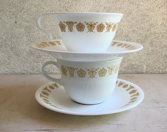 Vintage Corelle Butterfly Gold Cup and Saucer by Corning Ware, 1970s and 1980s Dinnerware