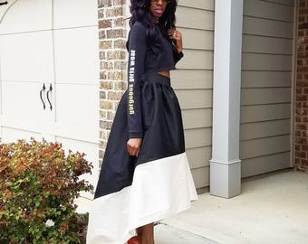 The CARRIE Satin Taffeta High-Low Ball Skirt (XS - 6XL) Black/Ivory, Red/Ivory, Navy/Ivory, Brown/Ivory. More Colors