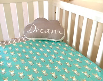 Baby Cot / Crib Quilt Blanket Teal Fawn Baby Bedding Girl