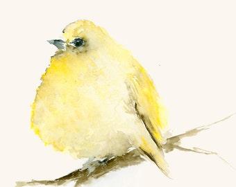 Art Print of Watercolor Painting Tiny Lemon Yellow Bird