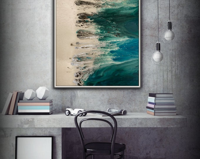 Huge Painting Abstract Print, Blue and Green Abstract Art Print, Large Painting Giclee, Large Abstract Print Art, Abstract Painting Print