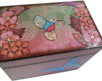 Recipe Box, Wood Box, Decoupaged Recipe Box, Hummingbird  Box, Wedding Recipe Box, Bridal Shower Box, Holds 4x6 Cards, MADE TO ORDER