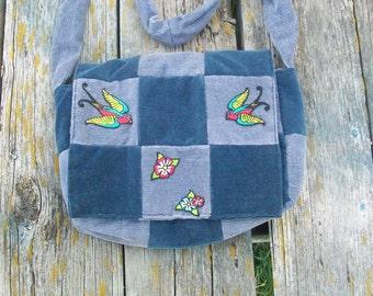 Blue Gray Recycled Corduroy Crossbody Purse Sparrow Patch Birds Long Strap