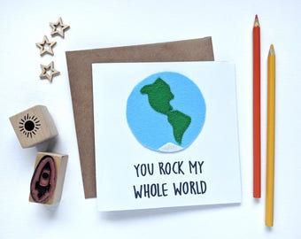 You rock my whole world, Anniversary Card, Valentine's Day Love Card, for Boyfriend Girlfriend, Hand-stitched felt Earth