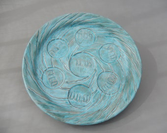 Passover Handmade Ceramic Seder Plate, Unique Turquoise Compact Ceramic, Jewish Wedding Gift,  Carved Pottery,  Passover, Pesach