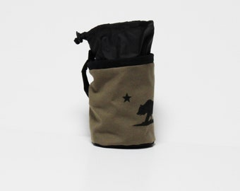 California Bear Flag Rock Climbing Chalk Bag Outside Drawstring