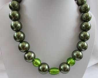 Large faux Green Pearl and glass bead necklace