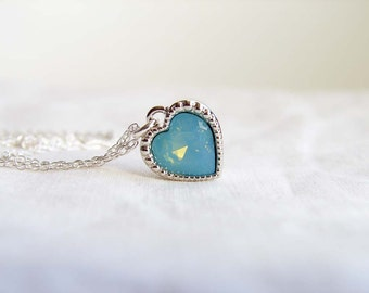 Swarovski Pacific Opal Blue Heart Necklace ~ Pacific Opal Heart Charm ~ Bridesmaid Gift ~ Simple Modern Jewelry Gift