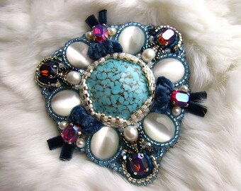 Royal Blue OOAK Bead Embroidered Sparkling Crystal and Velvet Ribbon Jewelry Brooch, Bright Brooch, Beaded Blue Brooch, Handmade Jewelry