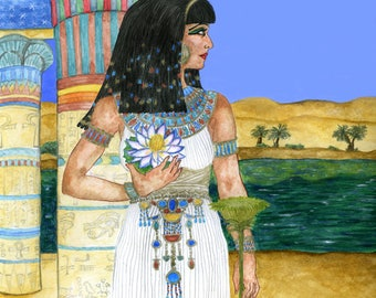 Goddess Isis and Blue Lotus Egyptian Supreme Mother Fertility Deity Art Print Pagan Altar Decor Pen and Ink Watercolour Illustration