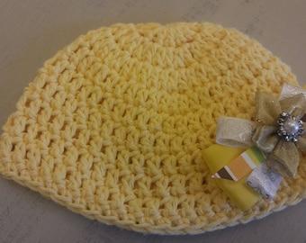 Baby hat, child's hat, yellow hat, girl's hat, cotton hat, crochet hat, cotton yarn