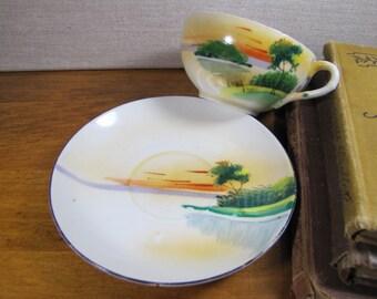 Vintage Porcelain Hand Painted Teacup and Saucer Set - Made in Japan