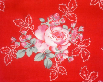 Paris Bebe Robin Mynatt red with pink roses fabric FQ or more