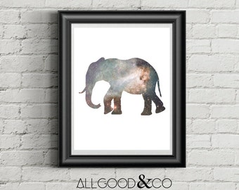 Elephant with Stars Downloadable Print, Modern Art, Wall Art, Elephant Print, 11x14 Print, 8x10 Print
