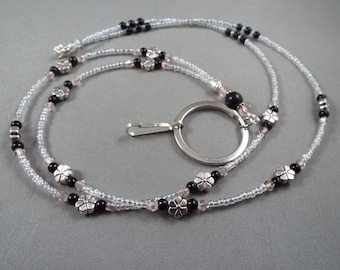 """Beaded breakaway lanyard pink and black glass pearls and crystals 32"""" to 44"""" ID badge holder with magnetic or toggle clasp  ,unique fashion"""