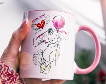 Rabbit Mug Watercolor Ceramic Mug Original art Coffee Mug Animal Mug Tea Cup Art Illustration Art Printed mug Animal Gift Coffee Cool