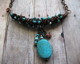 Urban Ocean, A Bead and Copper Necklace, Torquoise and Copper Necklace Choker, Adjustable Necklace, One of a Kind