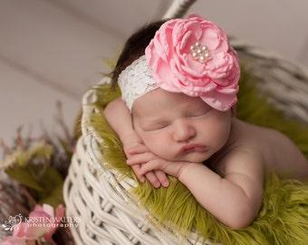 Large Pink Headband, Pink Headbands, Pink Baby Headband, Pink Flower Headband, Newborn Headbands, Baby Headbands