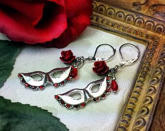 Phantom of the Opera Blood Red Rose Silver Earrings, Gothic Victorian, Garnet Rosebud Masquerade Mask Steampunk, Titanic Temptations 16007
