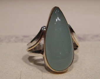 BEAUTIFUL Aquamarine  Ring ... Sterling Silver and 14 kt Gold ...  Size 8