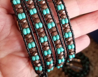 Brown and teal leather wrap bracelet