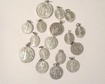 Vintage Saint Benedict Medals, Lot of 17 Antique Aluminum St Benedict Medals- Assorted Medals, Vintage Religious Medal Lot