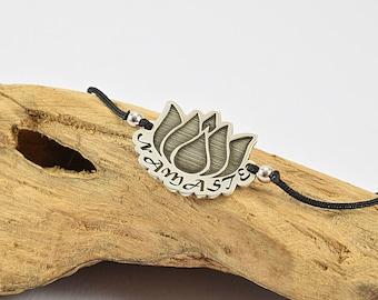 Namaste Bracelet, Lotus Flower Bracelet, Inspirational Bracelet, Water Lily Flower Bracelet, Inspiration Bracelet For Women, Sterling silver