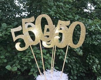 50th Birthday Centerpiece Sticks,  Glitter 50th Birthday Decoration, 50th Birthday Table Decorations, Age Cutouts