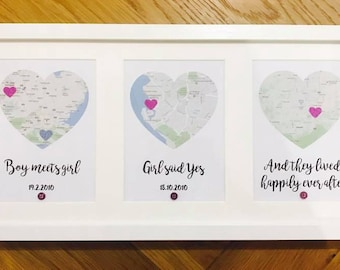 wedding gift - Heart Map - Boy meets girl, girl said yes, they lived happily ever after - 3 Heart Map Location Landscape Frame
