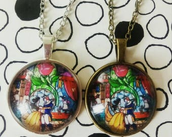 Beauty and the Beast Necklace Stain Glass Belle and Beast Pendant Disney Inspired