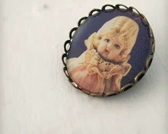 Photo Brooch of An Antique Porcelain Bisque Doll Adventures of Claudia Bronze Pin Button