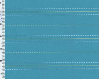Cyan Blue Stripe Suiting, Fabric By The Yard
