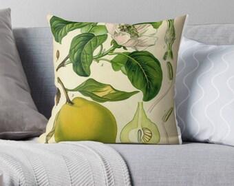 Throw Pillow Case : Vintage Botanical Print Green Yellow White Plant Lady Blogger Style Interior Design