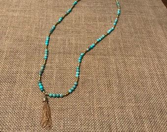 Turquoise necklace with tassel