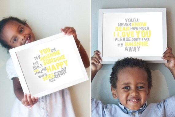 You Are My Sunshine print set in yellow and gray - horizontal