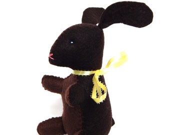 Chocolate bunny Easter stuffed animal felt food plushie toy or decoration
