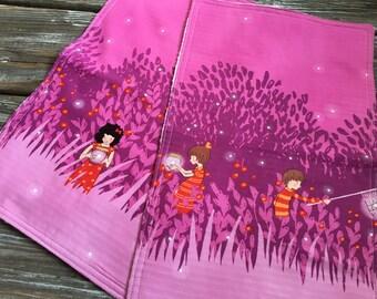 Burp Cloth ~ Fireflies//Children//Outdoor//Trees//Bugs//Woodland