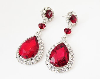 long flower earrings crystal statement red wholesale dangle