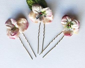 Velvet Blossom Hair Pins, Bridesmaid Hair Pins, Floral Hair Pins, Bridal Hair Pins