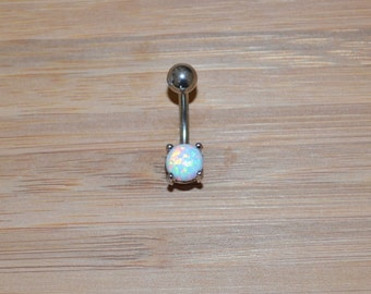 Petite White Simulated Opal Round Shape Prong Belly Button Ring Navel Body Piercing Jewelry
