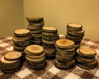 "100 3"" Wood Slices - Rustic Wedding Decor - tree slices - log coasters - DIY wedding"