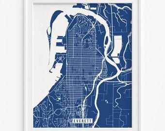 Everett Print, Washington Poster, Everett Map, Washington Print, Everett Poster, Washington Map, Street Map, Fathers Day Gift