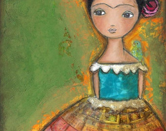 Frida - ACEO Giclee print mounted on Wood (2.5 x 3.5 inches) Folk Art  by FLOR LARIOS