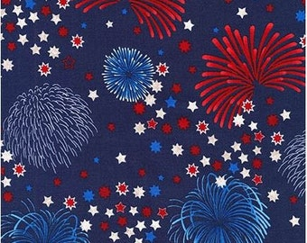 Americana Fireworks on Navy Blue from Robert Kaufman's Patriots Collection