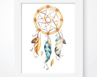Dream Catcher Print, Dreamer Print, Dreamcatcher, Tribal Print, Tribal Decor, Native American, Nursery Decor, Boys Bedroom, Nursery Print