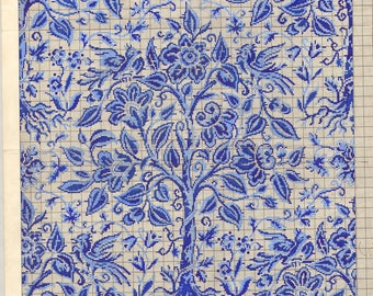 AH. Tree of Life Vintage 1920-1930's textile point paper