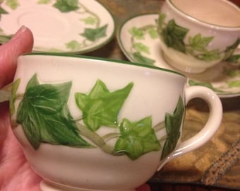 2 sets of vintage Franciscan Ivy USA tea coffee cups and saucers. Excellent condition.