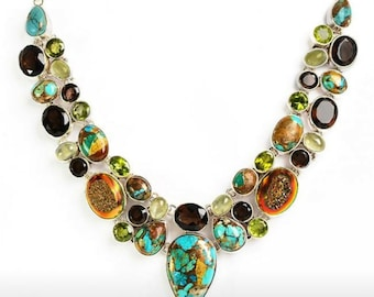 Necklace with Copper Turquoise,Druzy Agate,Prenite,smokey Quartz set in Sterling Silver