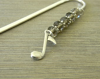 Music Note Bookmark with Smoky Quartz Glass Beads Shepherd Hook Steel Bookmark Silver Color Eighth Note