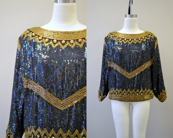 1980s Sequin and Beaded Top